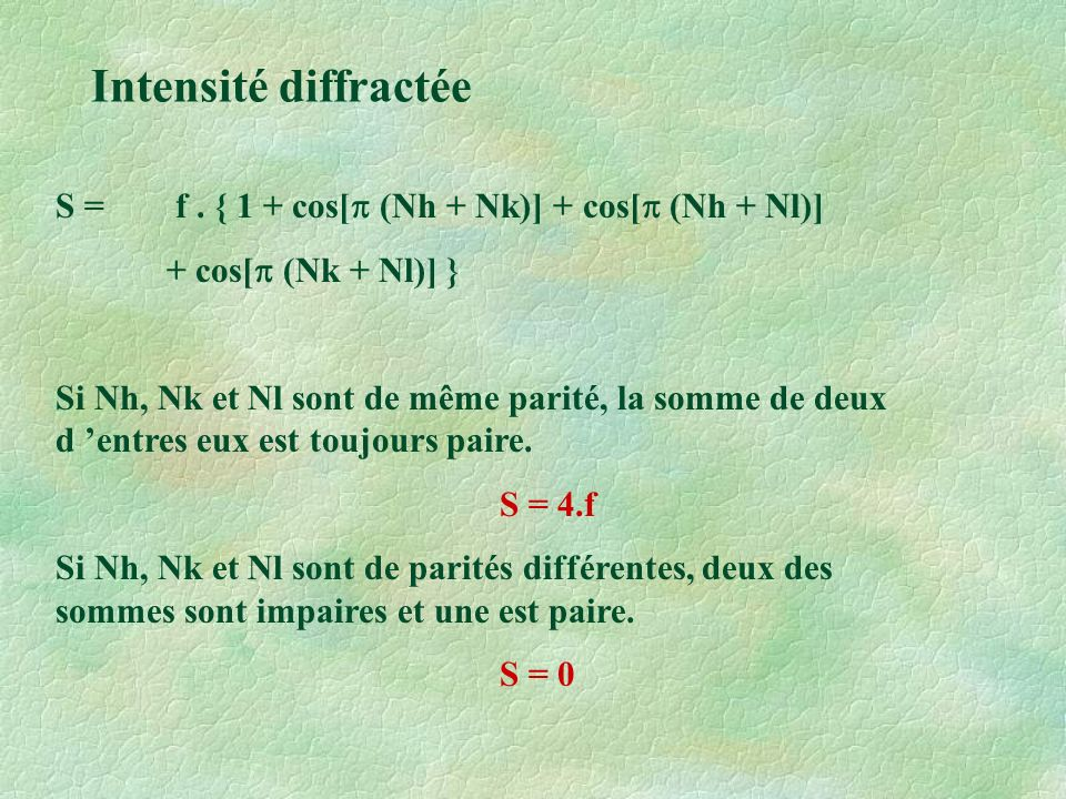 Intensité diffractée S = f . { 1 + cos[p (Nh + Nk)] + cos[p (Nh + Nl)]